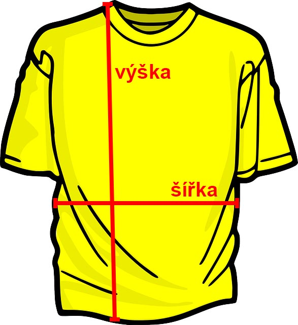 Rozměry triček s potiskem s krátkým rukávem