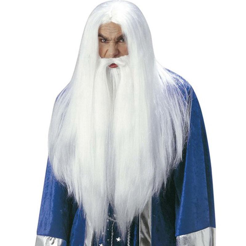 Bílá dlouhá paruka a bílé vousy - Čaroděj i Mikuláš