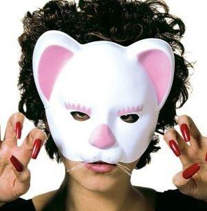 Plastová škraboška - Kočka - sametová bílá