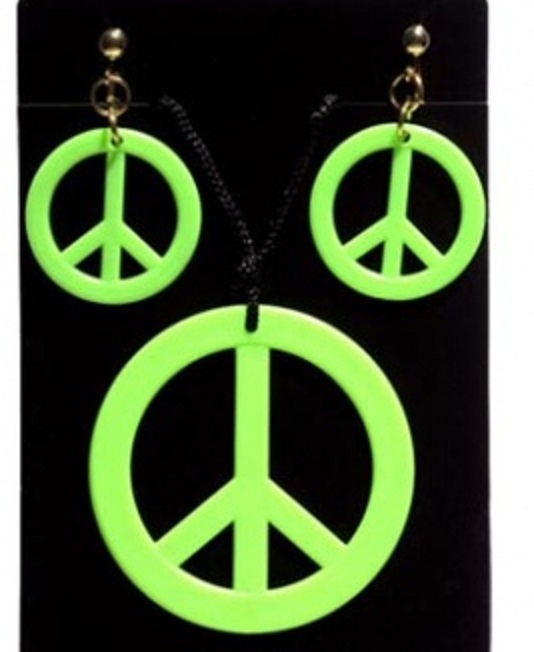 Hippies sada - Přívěšek a náušnice - zelená