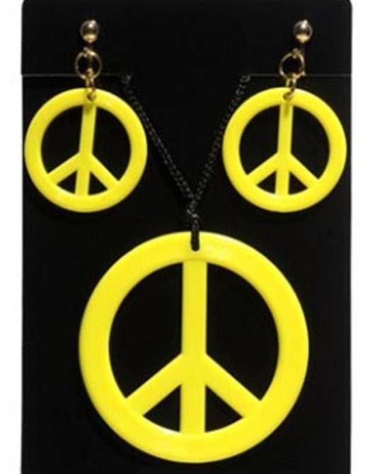 Hippies sada - Přívěšek a náušnice - žlutá
