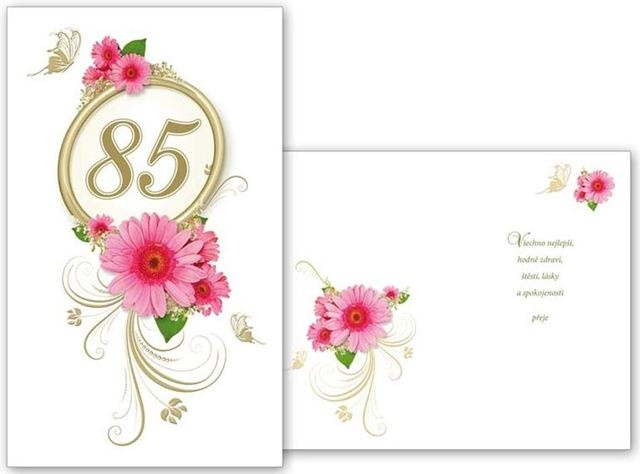 přání k 85 narozeninám Narozeninové přání k 85. narozeninám s obálkou a textem přání k 85 narozeninám