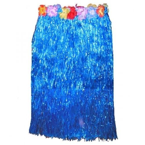 Letní havajská sukně - Modrá - dlouhá s květy R-Kontakt