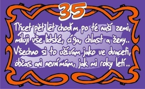 přání k narozeninám 35 Přání k 35. narozeninám (kartička) přání k narozeninám 35