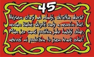 vtipné přání k 45 narozeninám Dárky k 45. narozeninám pro muže i ženy vtipné přání k 45 narozeninám