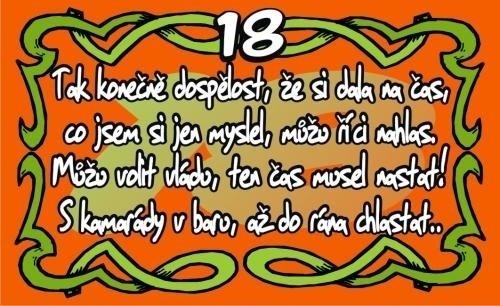 blahopřání k 18 narozeninám Přání k 18. narozeninám (kartička) blahopřání k 18 narozeninám