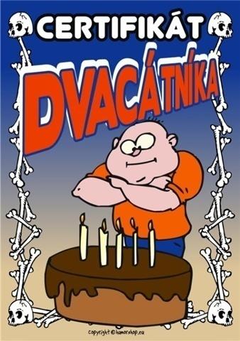 blahopřání k 20 narozeninám Přání k 20. narozeninám   Certifikát dvacátníka blahopřání k 20 narozeninám