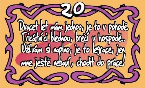 přání k narozeninám 20 let Přání k 20. narozeninám (kartička) přání k narozeninám 20 let