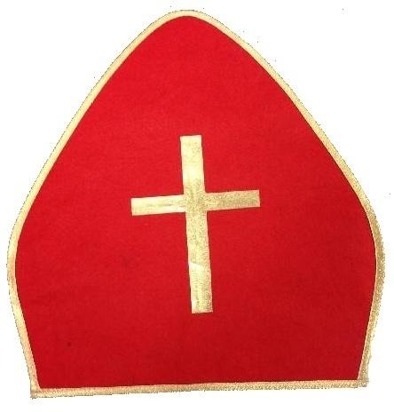 Levná mikulášská čepice - červená