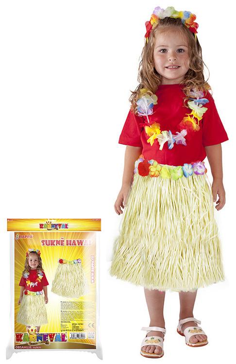 Dětská letní havajská sukně - přírodní s květy