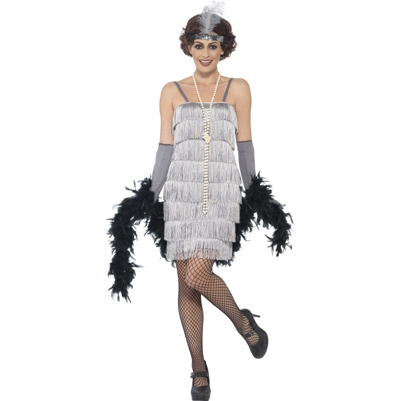 ef3980b3a22b Dámské retro šaty stříbrné s třásněmi