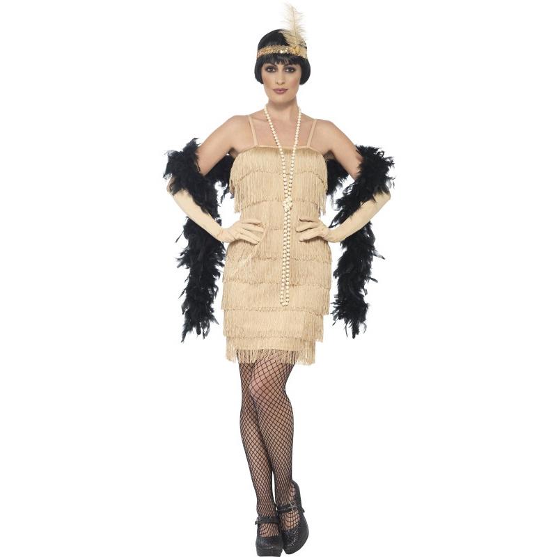 1a04a52f2bfc Dámské retro šaty zlaté s třásněmi