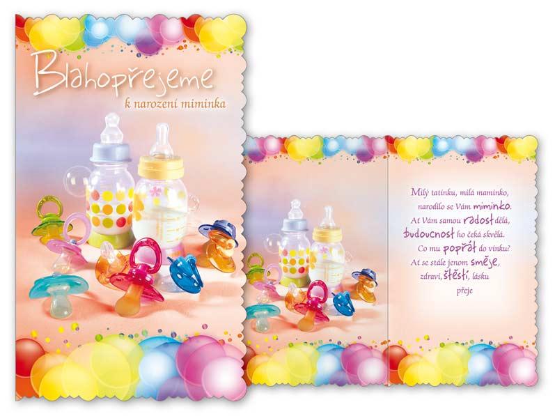 Blahopřání k narození miminka s obálkou a textem