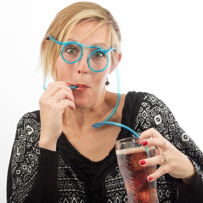 Párty brčkové brýle modré