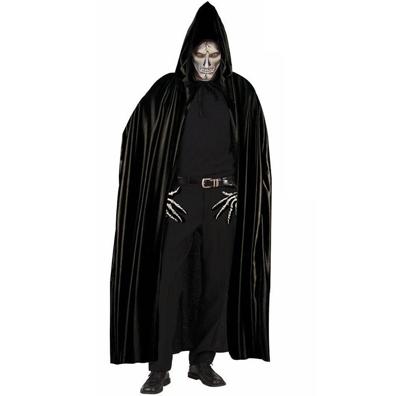 Černý plášť s kapucí - délka 142 cm