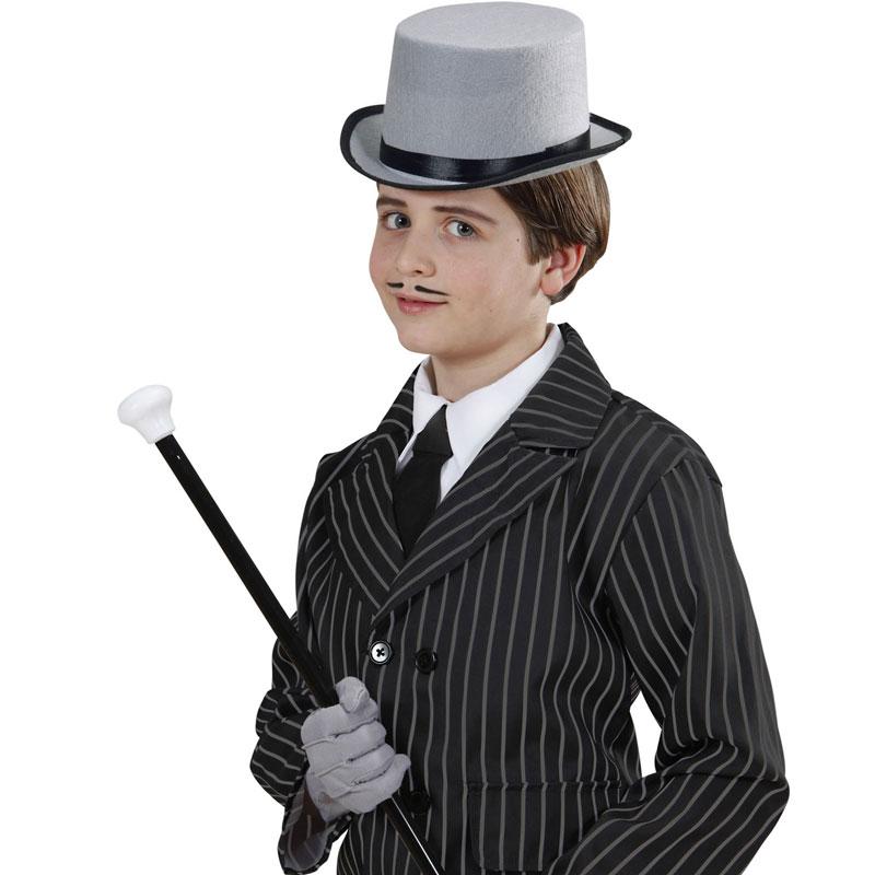 Dětský klobouk - Cylindr šedý plstěný Widmann