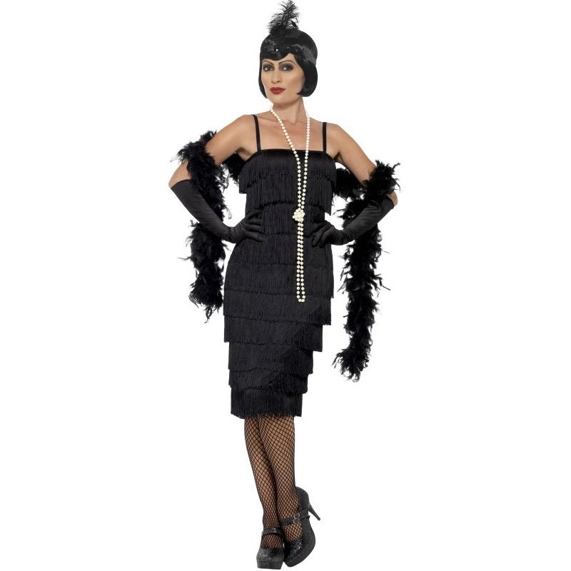 Dámské retro šaty s třásněmi - černé