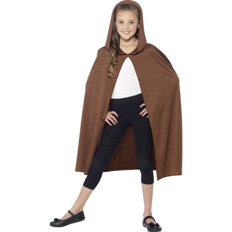 Dětský plášť s kapucí - hnědý
