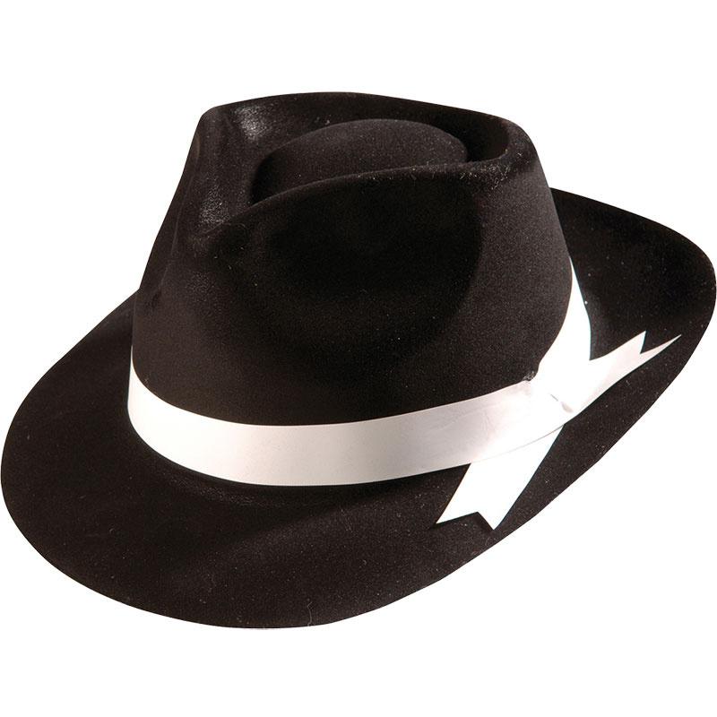 Černý retro klobouk poflokovaný - Gangster ae67bd1a4e