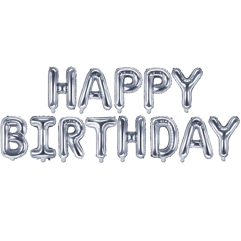 Nafukovací nápis Happy Birthday - stříbrná barva