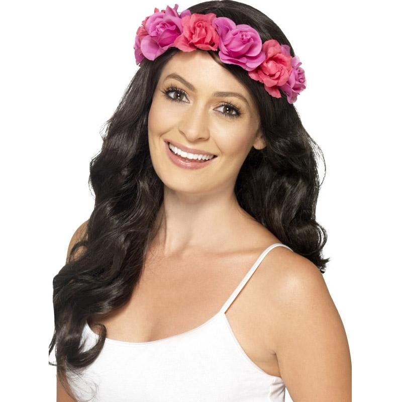Havajský věneček na hlavu - růžový