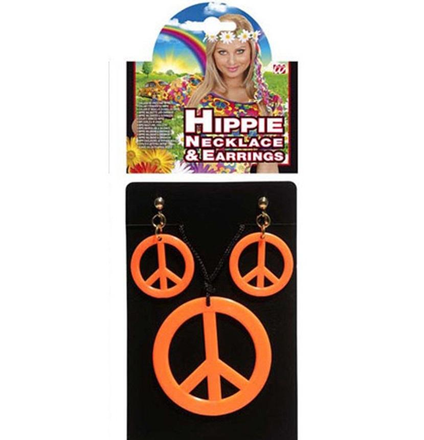Hippies sada - Přívěšek a náušnice - oranžová