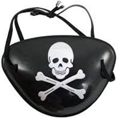 Pirátská páska přes oko s lebkou