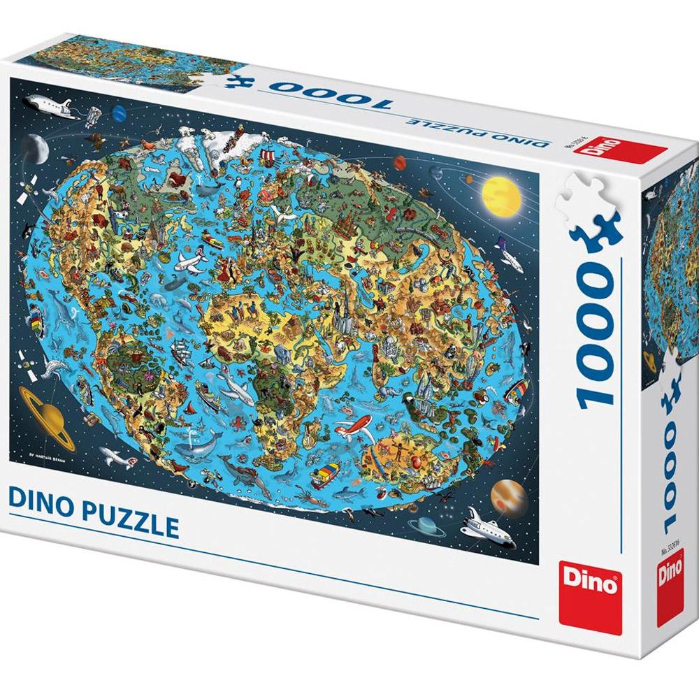 Puzzle 1000 dílků - Kreslená mapa světa