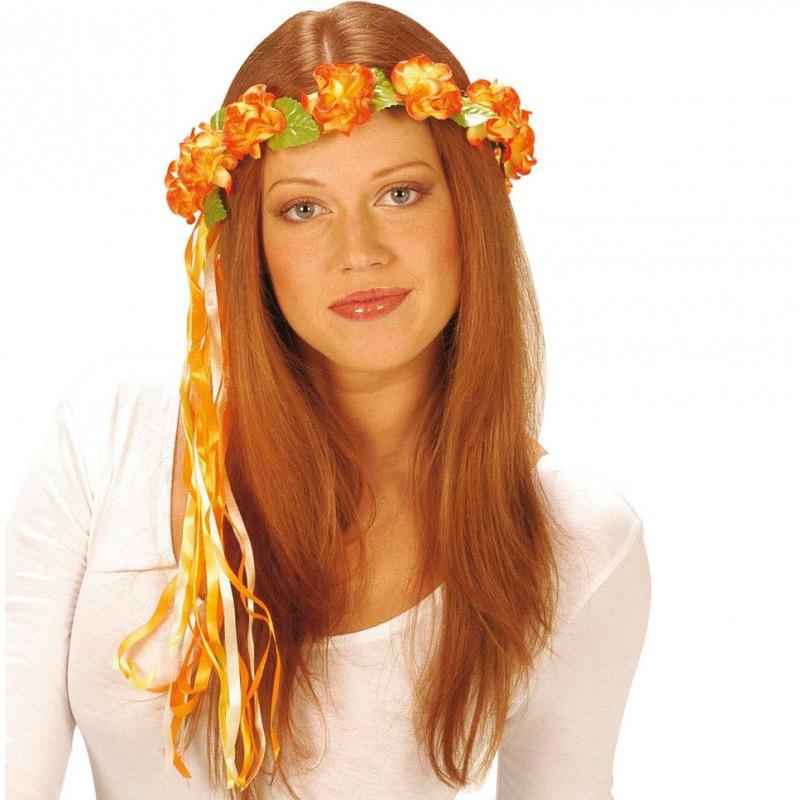 b3ffad2eb3e Květinová čelenka hippies - oranžová