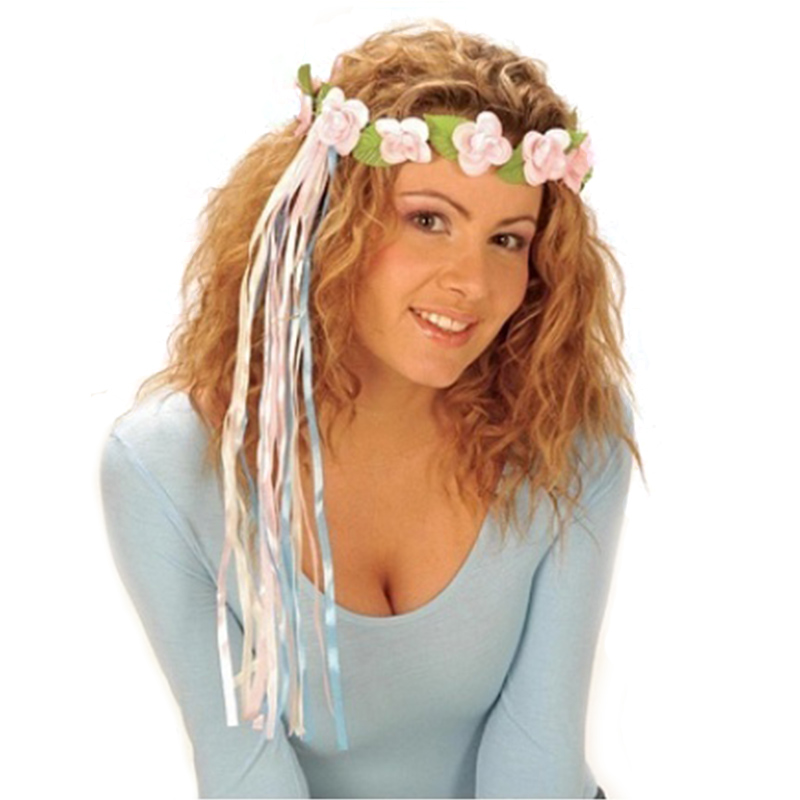 f43eba27cb3 Květinová čelenka hippies - věneček světle růžový