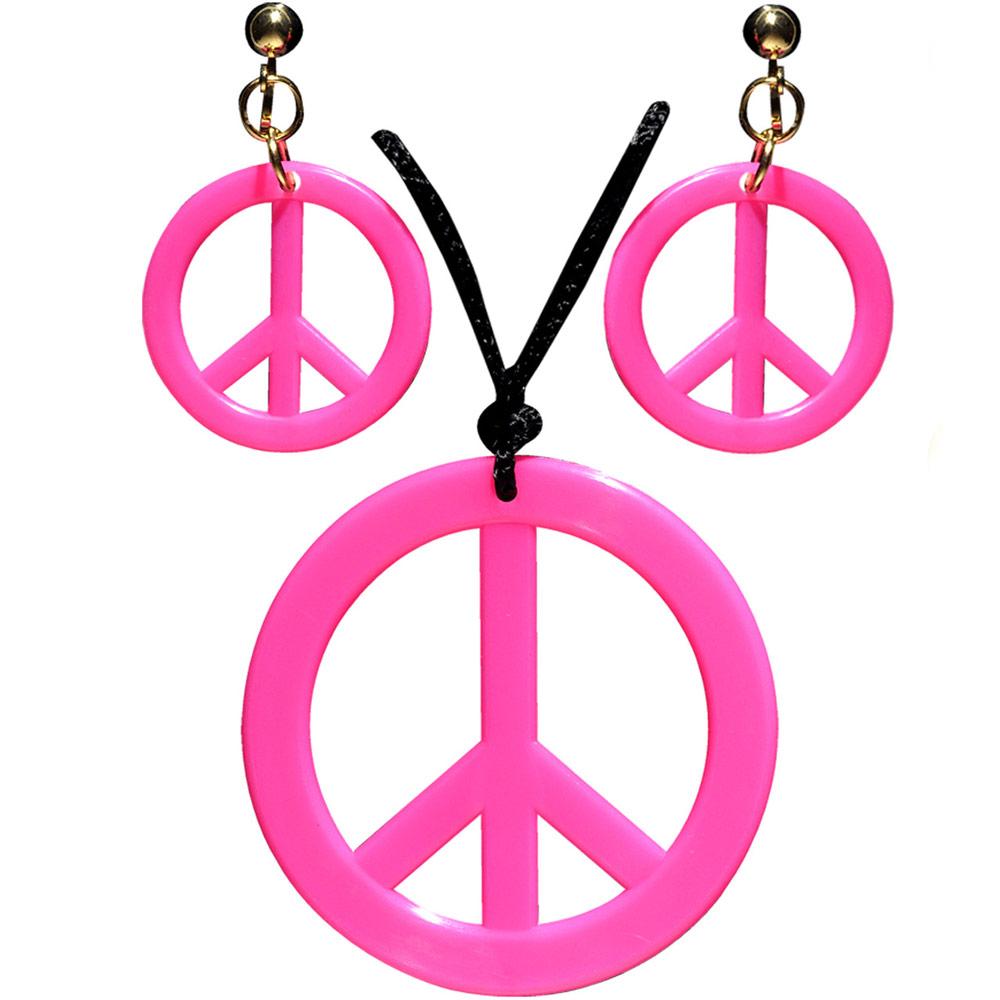 Hippies sada - Přívěšek a náušnice - růžová