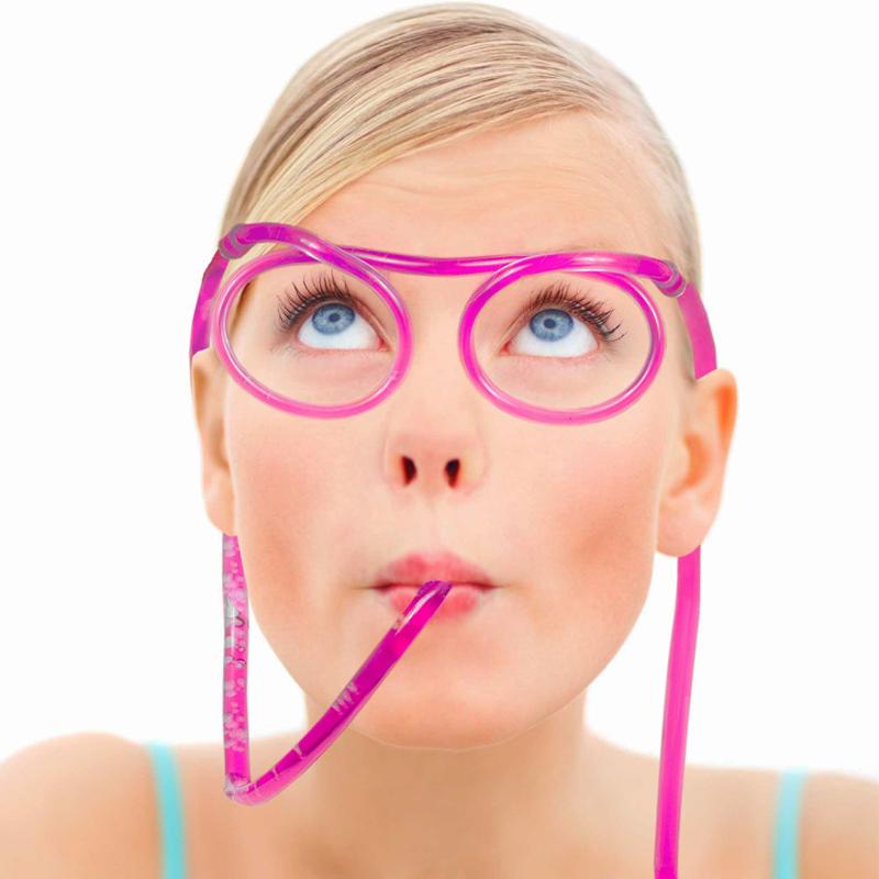 Párty brčkové brýle růžové
