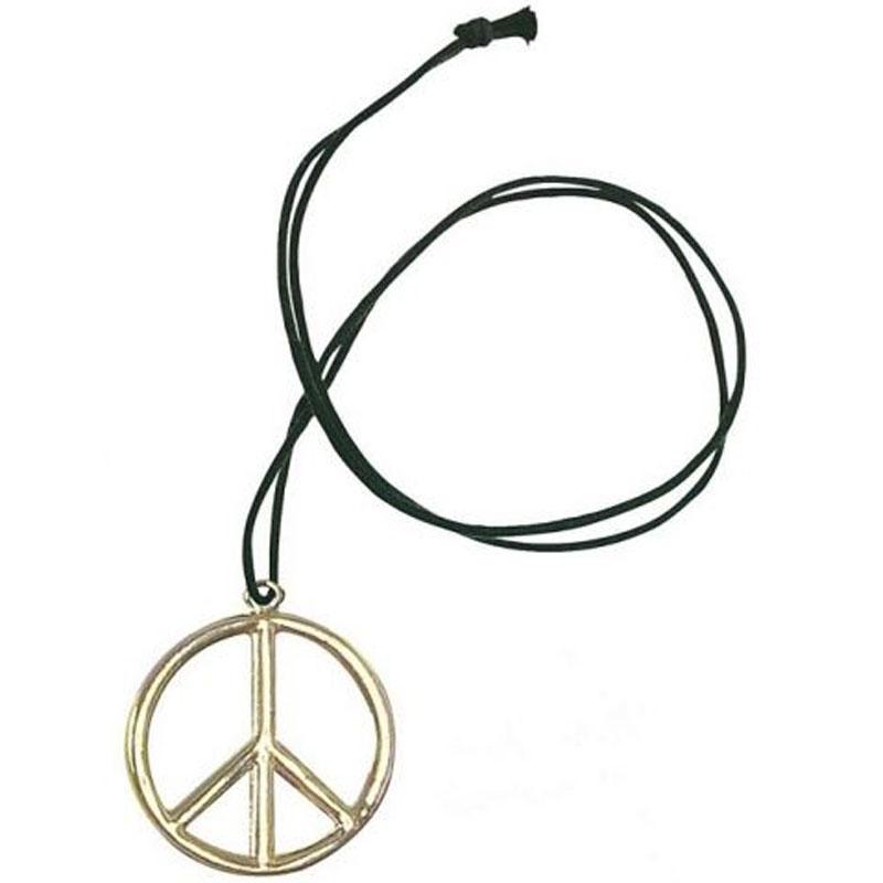 Přívěšek - Hippies na krk - kovový se šňůrkou