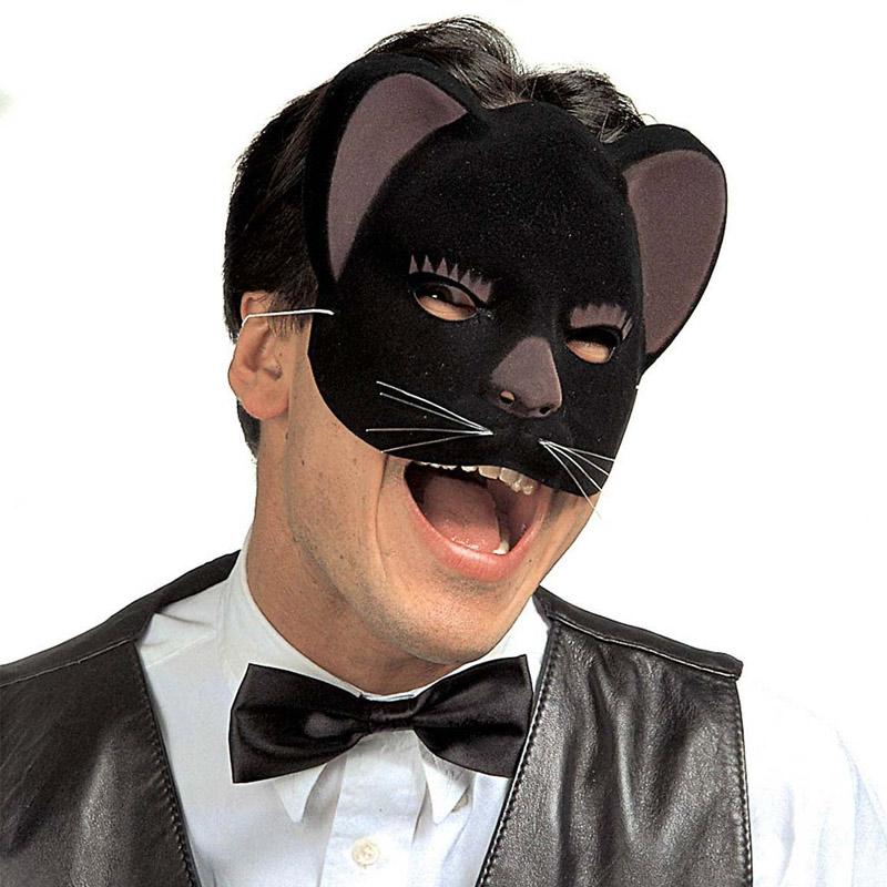 Plastová škraboška - Kočka - sametová černá