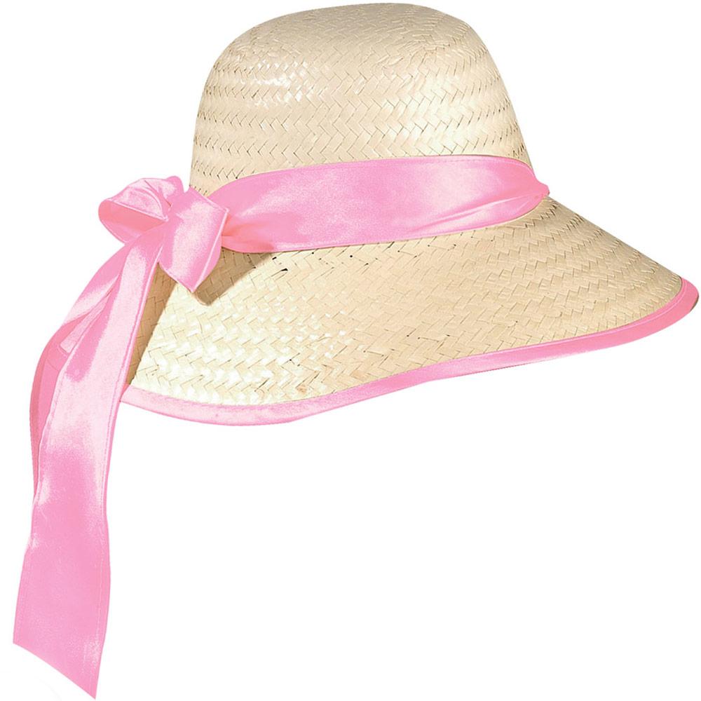 Dámský klobouk slamák Chicago - růžová stuha Widmann
