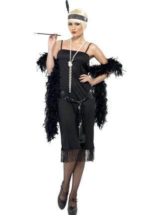 Retro šaty vhodně doplníte černým péřovým boa 8a5e2785f1